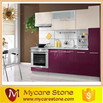 New Arrival Granite Top Purple Kitchen Cabinet On Oak Pvc Mfc