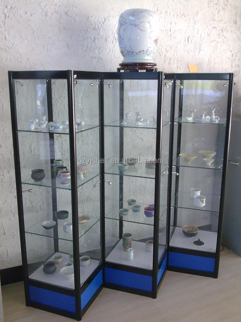 Metal Glass Display Cabinet Commercial Glass Tower Display Case Corner Display Cabinet With