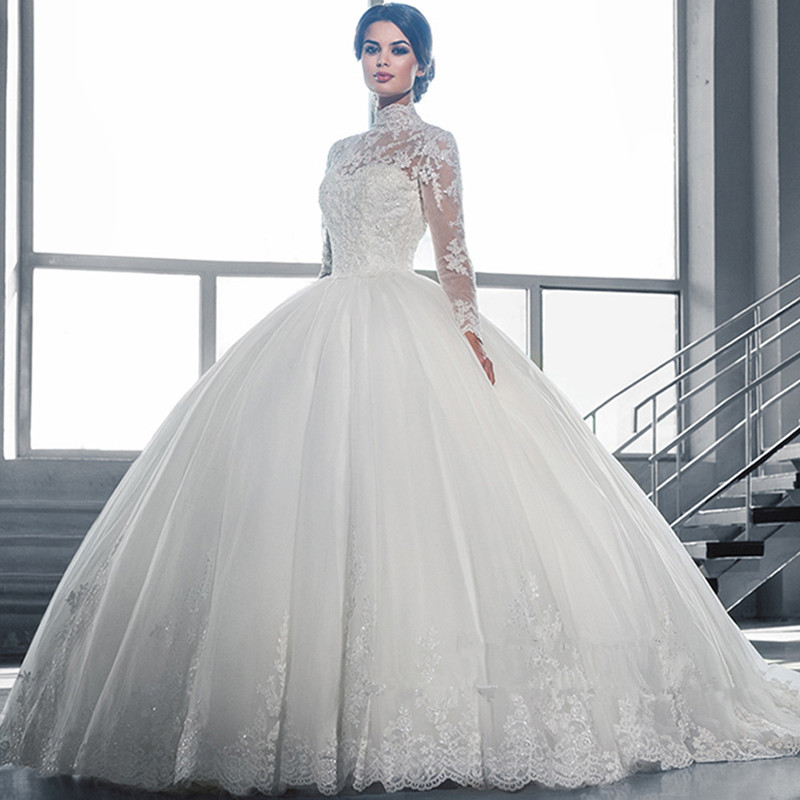 Most Beautiful Ball Gown Wedding Dresses: Beautiful White Ball Gown Wedding Dress Lace Sheer