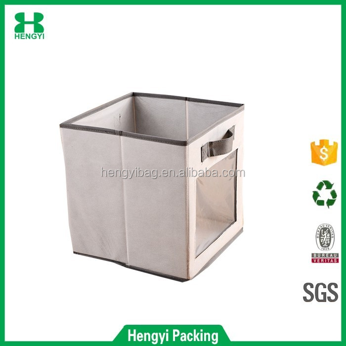 Two carryHandles nonwoven Fabric storage Foldable with the clear PVC windows Box