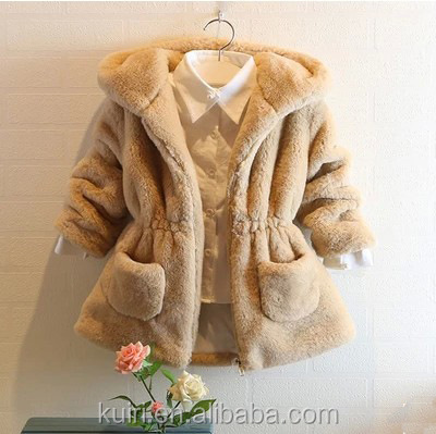girls hooded fur coat 2016 new fashion autunm winter warm children faux fur overcoat pink red solid color