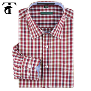 Top Quality Wholesale Men's Slim-Fit Long-Sleeve 100% Cotton Gingham Shirts For Men
