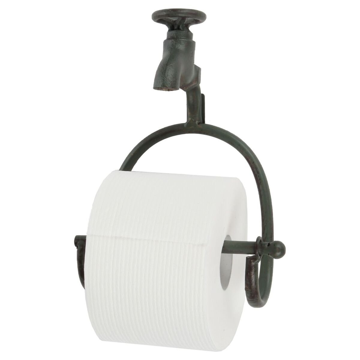 Lily's Home Vintage Rustic Wall Mount Toilet Paper Roll Holder, Country Design Crafted to Look Like Spigot Faucet and is Ideal for Any Whimsical Décor Style, Green Patina