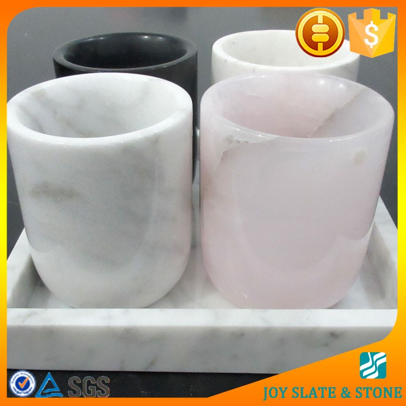 China factory rosa pink marble price/stone candle jar