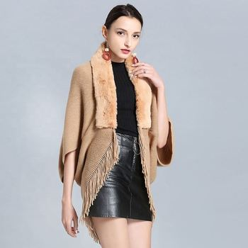 Newest Women fur cape with faux fox fur Trim Knitted Faux Fur Shawl for Women's winter Warm