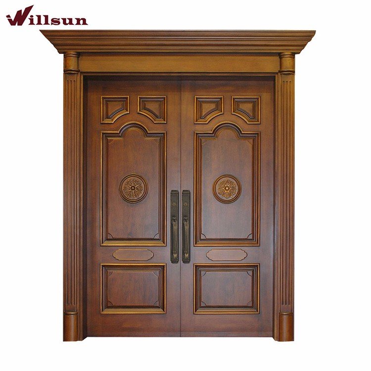 Jamaica Apartments Main Front Doors Brown Color Solid Wood Composite Storm Door With Transom