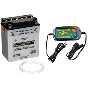 Power-Sonic 12N12A-4A-1 Conventional Powersport Battery and Battery Tender 022-0185G-dl-wh Black 12 Volt 1.25 Amp Plus Battery Charger/Maintainer Bundle