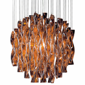 0809-11 Single Suspension double-layered coloured glass hand twisted pendant Light