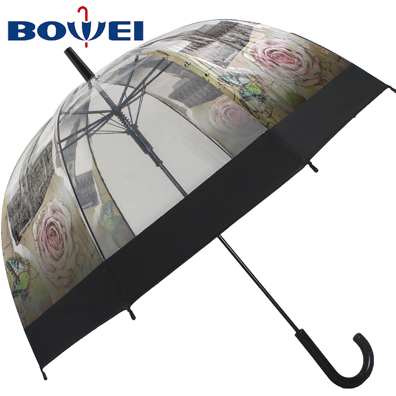 factory direct sale  POE transparent apollo clear dome umbrella with waterdrop printing