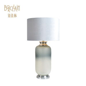 Bottle Gourd Table Lamp Hotel Desk Clear Glass Lamp With Lampshade