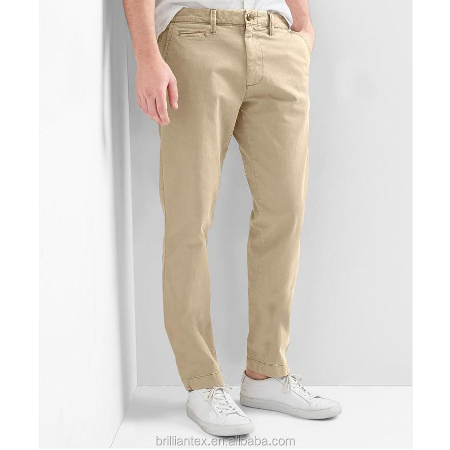 Fashionable men's trousers comfortable and comfortable retro washed elastic cultured khaki khaki trousers
