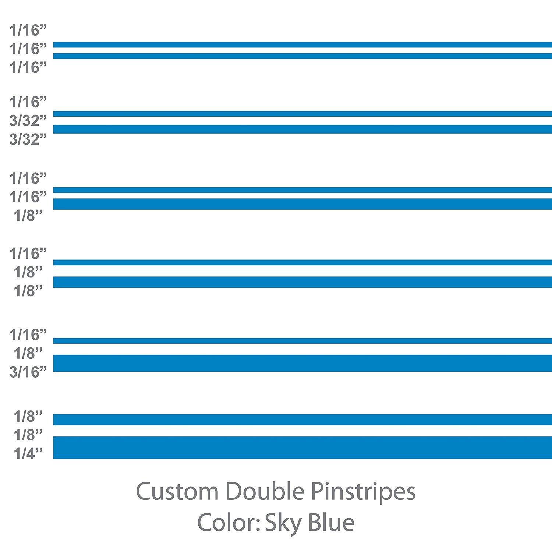 "1//8/"" 1//4/"" 3//8/"" 1//2/"" 5//8/"" 3//4/"" 7//8/"" 1/"" widths SKY BLUE Pinstripes"