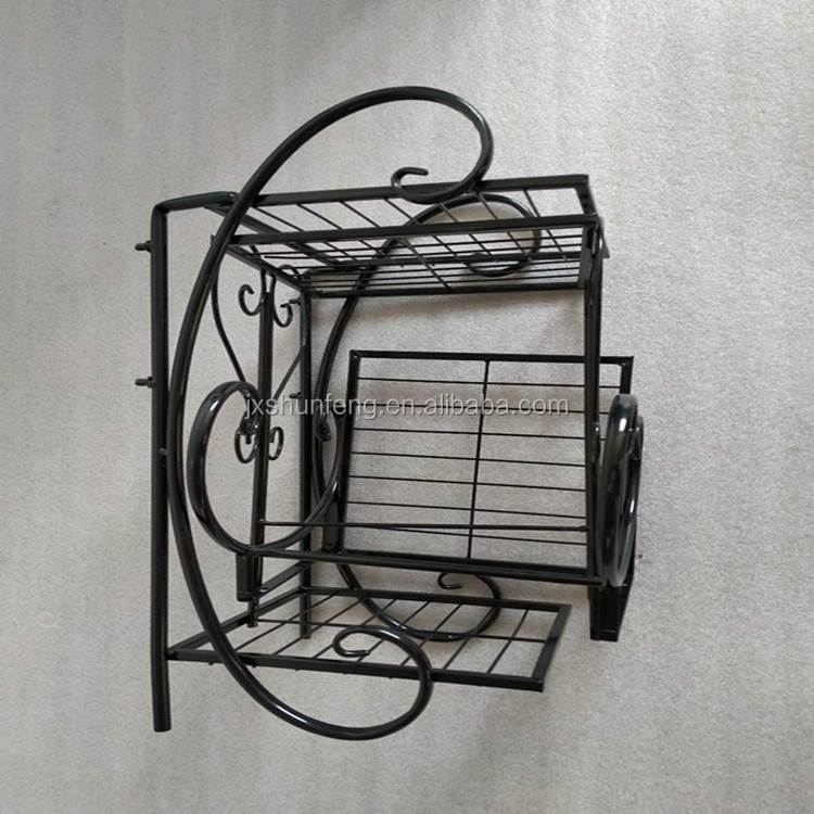 Metal wire pot rack flower display stand bonsai flowerpot hanger