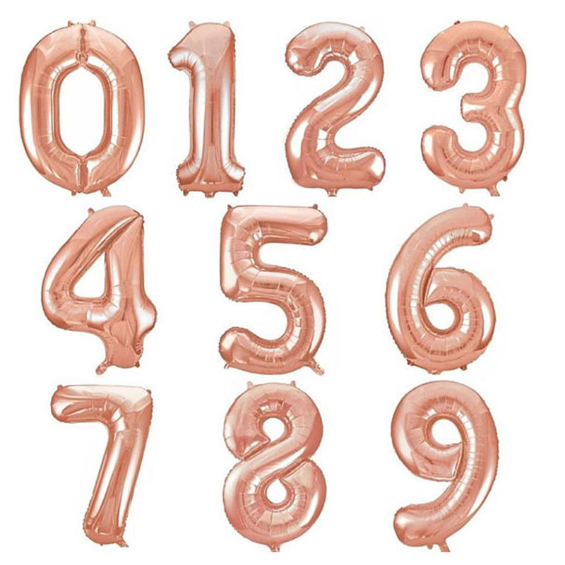 40inch Giant Rose Gold Number Foil Balloons Digit 0-9 Helium Balloon Wedding Birthday Party Decorations