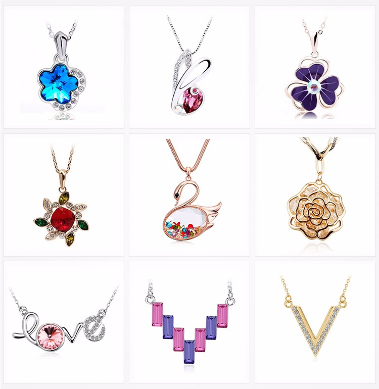 High quality jewelry 24K Rhodium plated chain round rainbow diamond AAA cubic zircon pendant charm necklace jewelry