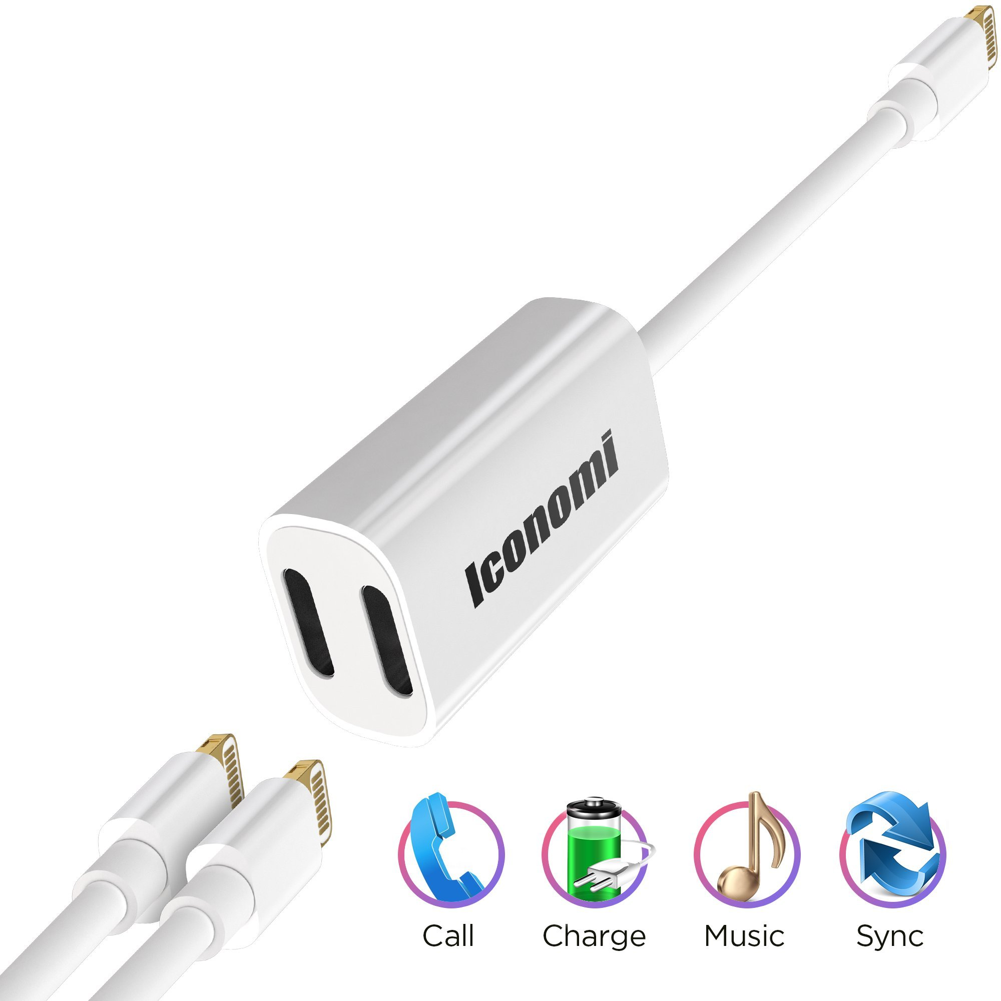 iPhone / 7Plus/ 8 / 8Plus/ X Adapter & Splitter, 2 in 1 Dual Lightning Headphone Jack Audio + Charge Cable Adapter, Compatible for iOS 11 or later, Sync,Music Control,Charge Function at the same time