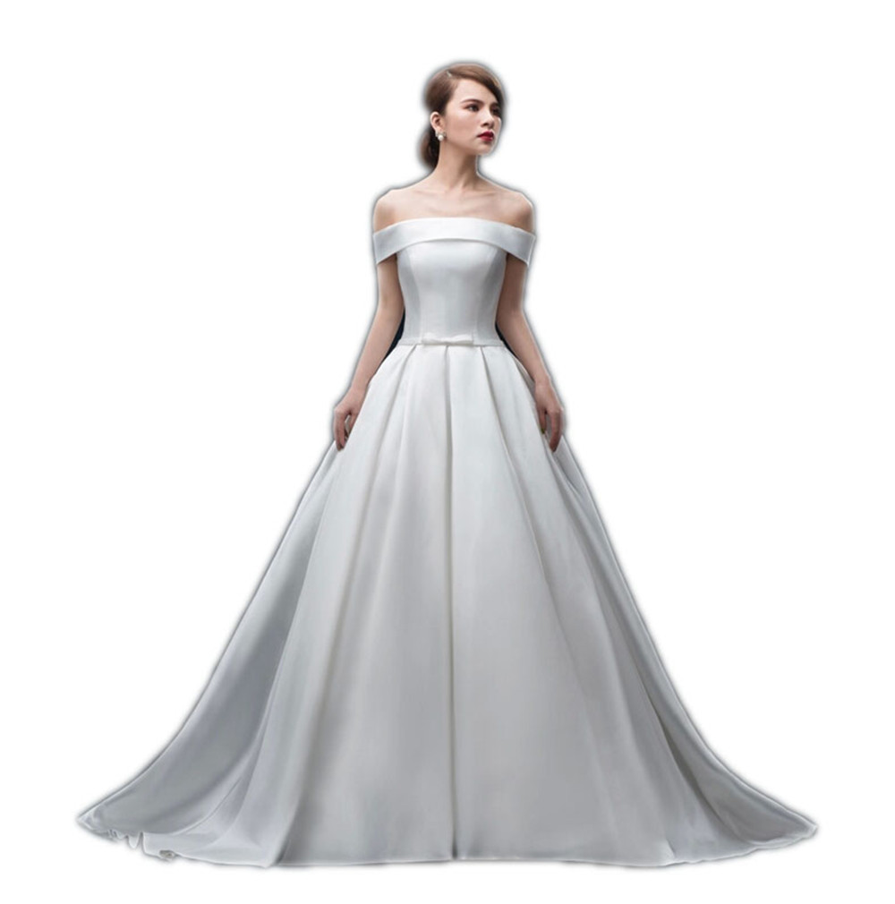 Charming White  Boat Neck Empire Wedding Dress Taffeta Bride Dresses Sweep Train Long Wedding Gowns with Bow New Design