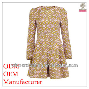 OEM latest fashion ladies garments ladies loose-fitting official dresses for women with long sleeve
