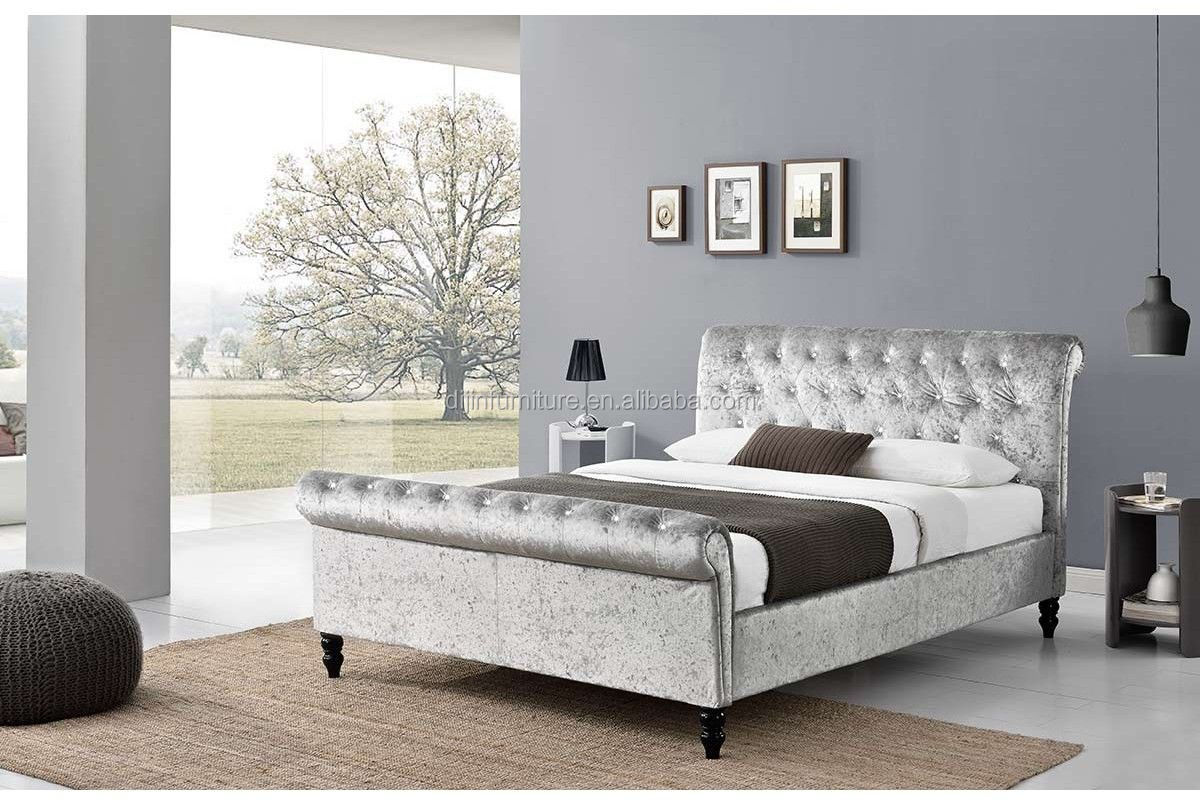 Modern Bedroom Furniture, Fabric Upholstered Sleigh Bed
