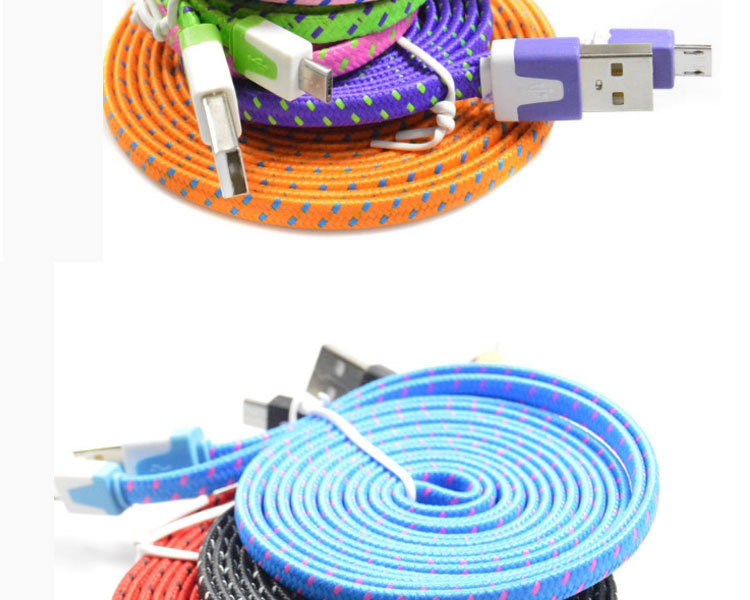 New products 2019 Factory supply colorful flat fabric braided 8 pin usb cable for IPhone 7/7plus/8/8plus/X fiber optic cable