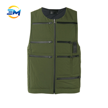 Popular style custom army green heated multi pocket vest for men