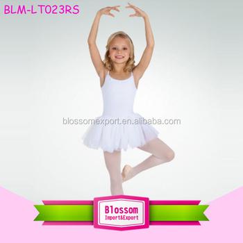 bfb910362b Solid White Kid Rhythmic Gymnastics Leotards Unitard Cotton Girl Camisole  Dance Blank Tutu Dress Leotard