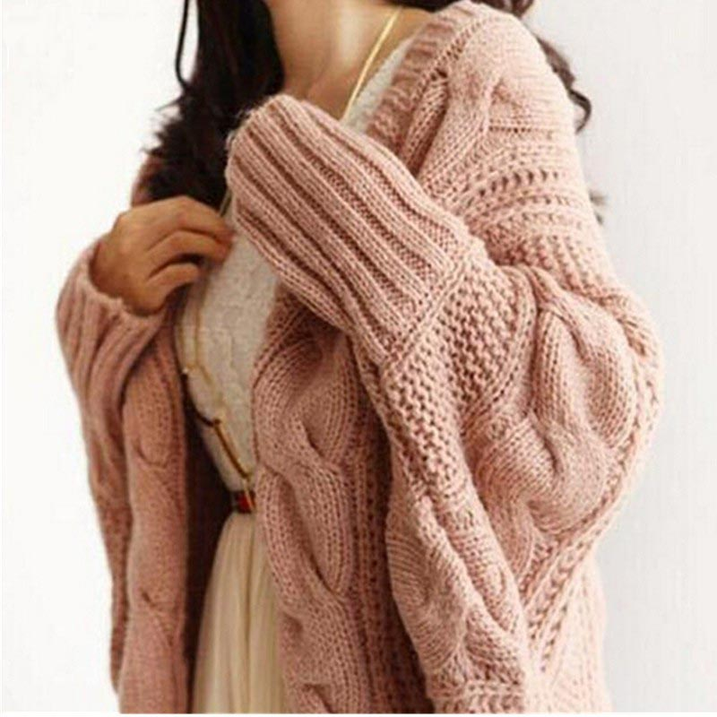 2018 Autumn and Winter Knitted Cardigans Coat Women Fashion Long Sleeve Batwing Sweater Beautiful Womans Crochet Cardigan