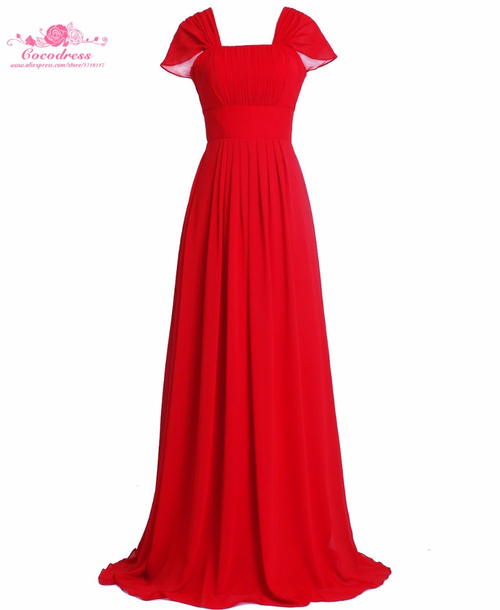 2015 Red Chiffon A-Line Capped Sleeve Floor-Length Bridesmaid Dresses Real Simple Ruched Cheap Bridal Gown