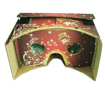 Christmas Gift Color Printed Google Cardboard Virtual Reality Glasses Google 5.0 Box In Stock