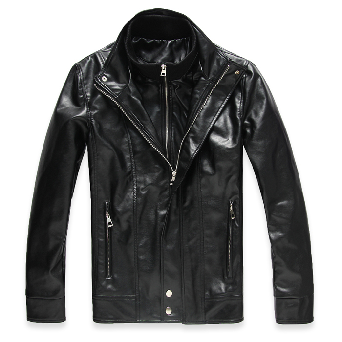 Free Shipping Men's Jacket Male Casual Leather Clothing Short Design Stand Collar Male Leather Clothing Black Brown M L XL XXL