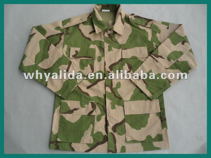 Nigeria Army BDU 3 Colored Desert Camo Combat Uniform With Cap