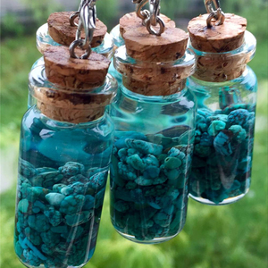 Natural Kallaite Crystal Gravel Tumbled Stones Crushed Stone Wishing Bottle For Gifts