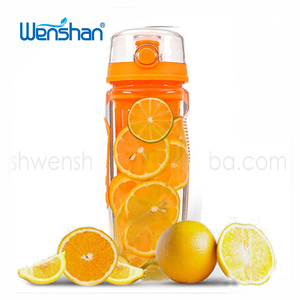 BPA free protein bottle shaker plastic sport water bottle with fruit infuser water bottle 32oz