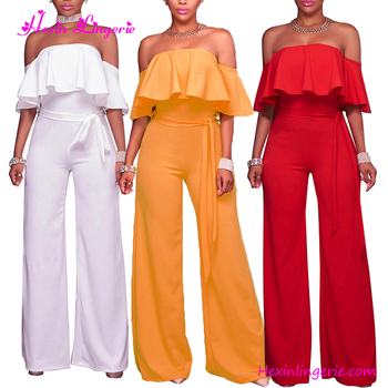 Cheap Shipping Red Off Shoulder Sexy Woman Rompers Plus Size