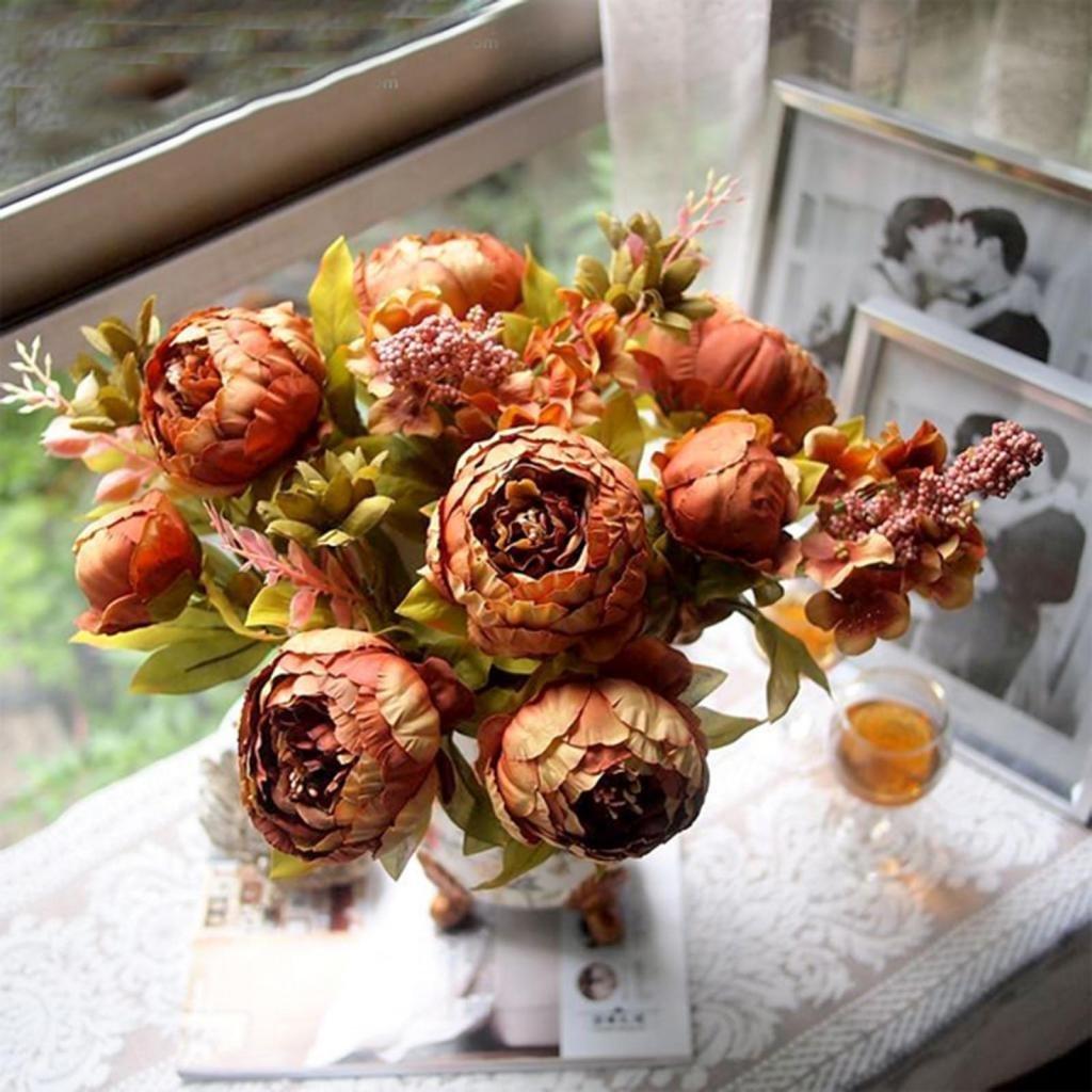 Buy huntgold 1x wedding florist bouquet posy holder premium fresh huntgold 1x artificial peony silk flowers bouquet for wedding party bouquet decorationbrown izmirmasajfo