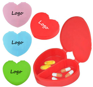 New design high quality cheap price easy open small size capsule dispenser 2 compartments flip PP Plastic heart shaped pill box