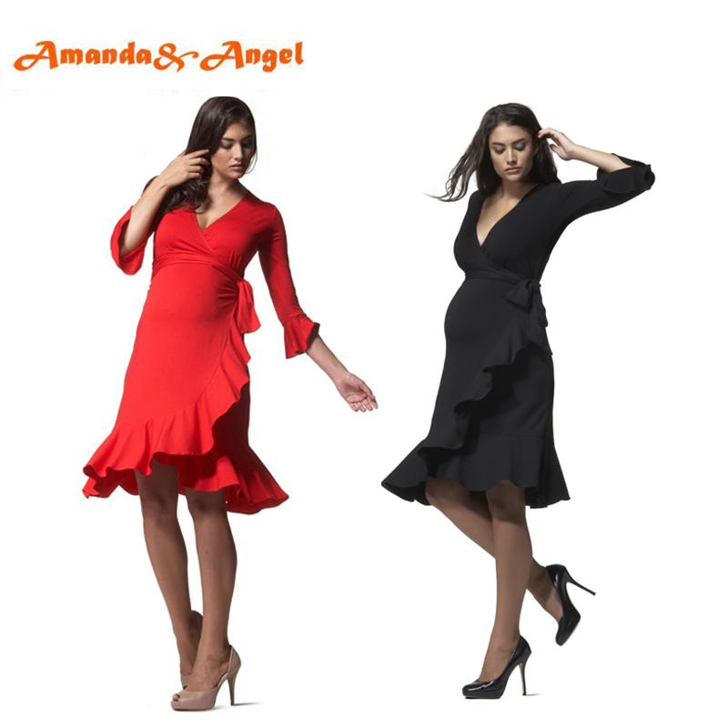 Amanda Angel Evening Maternity Dress Flounce Sleeve V neck Baby Shower Cocktail Dress Pregnancy Black Red