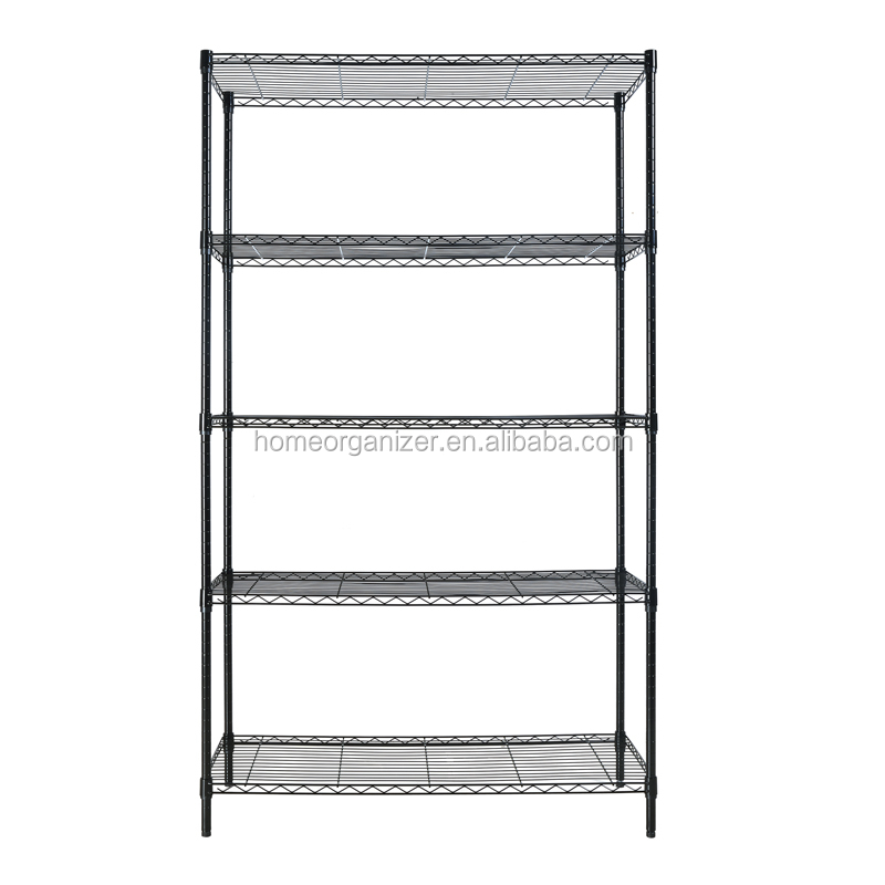 Industrial Grade Steel Storage Shelves Portable 5-tier Black Metal ...