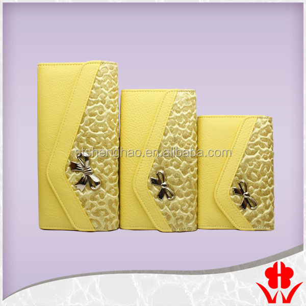 Gilded cloth V shaped head silver bow PU leather lady wallet