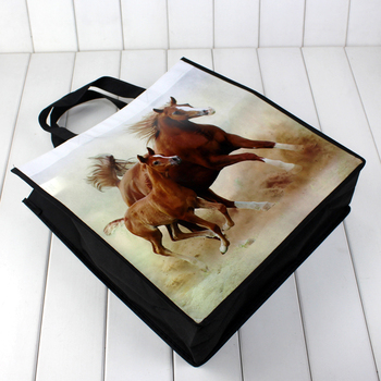 Lamination printed horse pattern non woven cloth shopping bag for mall