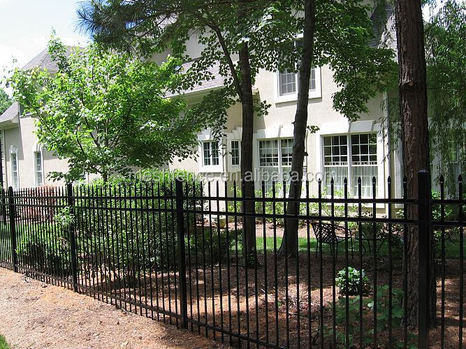 high quality black cheap decorative wrought iron fence panels with arrow for sale