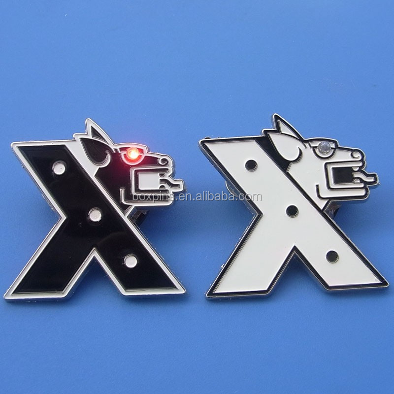 X Tiger Red Led Metal Lapel Pins,White And Black Metal Badges With ...