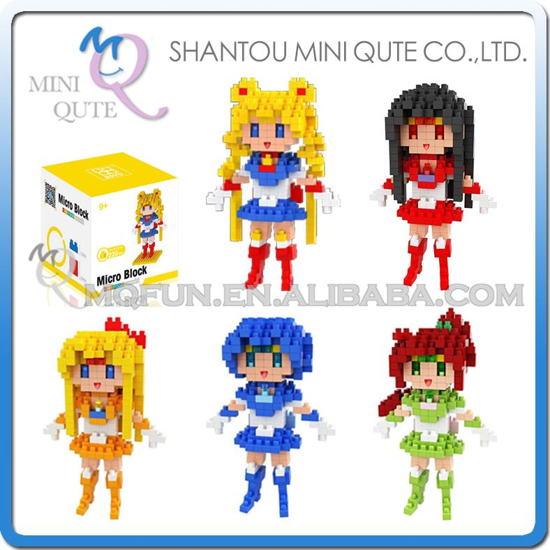 Mini Qute WTOYW BOYU Kawaii Anime cartoon Sailor Moon Kino Makoto girls Diamond plastic building blocks