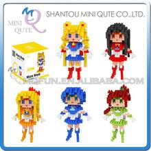 Mini Qute WTOYW BOYU Kawaii Anime cartoon Sailor Moon Kino Makoto girls Diamond plastic building blocks figures educational toy
