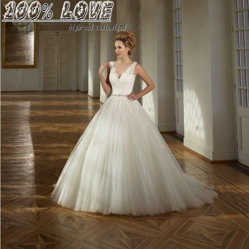 Princess Wedding Dress High Quality Cap Sleeve Low Cut