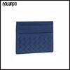 Deep blue ladies leather money clip card holder wallet