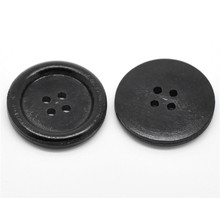 Wholesale 30PCs Black 4 Holes Round Wood Sewing Buttons 30mmDia.