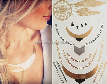 Body jewelry gold foil temporary tattoo as 100 buy for Gold foil tattoo