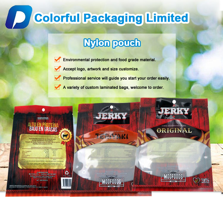 Custom beef jerky plastic packaging bag nylon pe vacuum zipper food packaging nylon bag