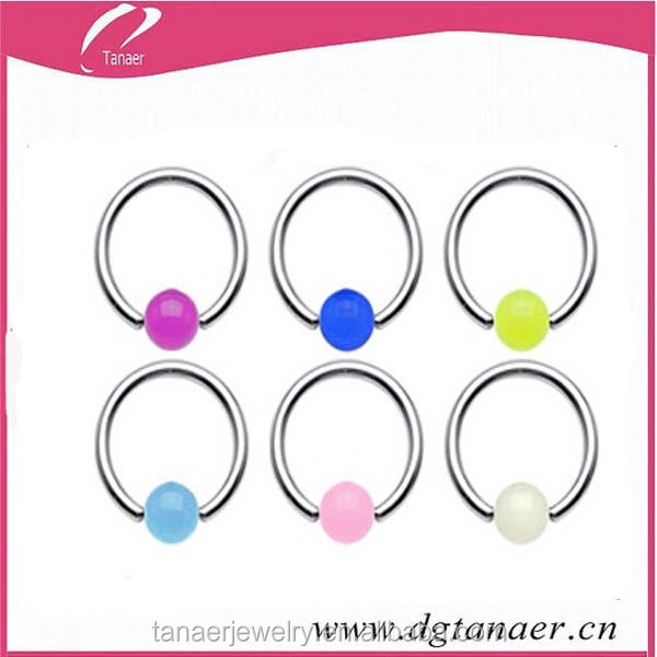 Stainless steel ball closure ring with acrylic ball color captive bead rings